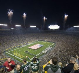 Fans stand for the National Anthem before the Green Bay Packers game against the Seattle Seahawks Sunday September 20, 2015 at Lambeau Field in Green Bay, Wis.  MARK HOFFMAN/MHOFFMAN@JOURNALSENTINEL.COM